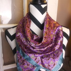 Vintage Scarf Purple Teal Blue Gold